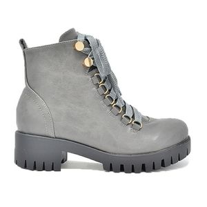 Chase + Chloe Shoes - Gray combat boots